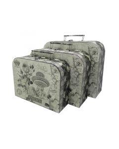 Set koferče 1/3 OP991 crno-beli ruže